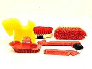 kit higiene animal vermelho -  cavalos