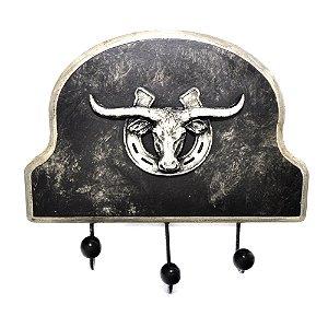 Porta Casacos Long Horn 3 Ganchos Preto - 3124