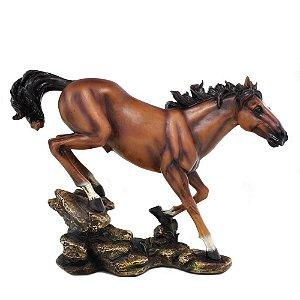 Estatueta Cavalo Marrom P Oldway 26X35 Cm