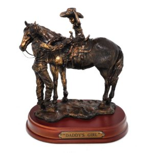 Estatueta Decorativa Cowboy Com Filha