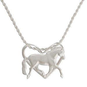 colar coração de cavalo inteiro banho de prata