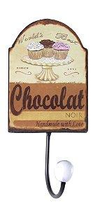 cabideiro metal 1 gancho chocolat oldway 22x10x7 cm