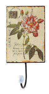 cabideiro metal 1 gancho rosa vermelha oldway25x13x7cm