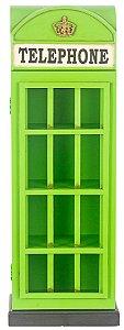 cabine telefone verde porta cd oldway 80x28x18 cm
