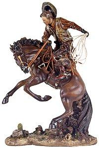 cowboy domando cavalo oldway 46 x 31 x 20 cm