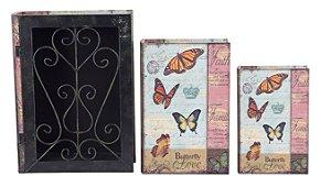 book box com 3 peças + grade iron borboletas oldway 35 x 26 x 9cm