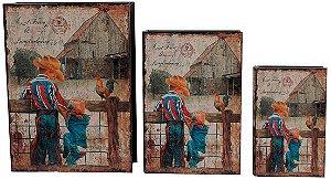 book box com 3 peças meninos na cerca oldway 35 x 26 x 8cm
