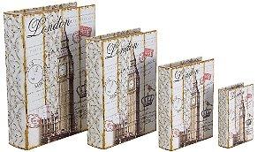 book box com 4 peças london oldway 37 x 27 x 8cm