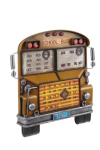 calendario metal school bus amarelo oldway 33,5 x 32 x 6cm