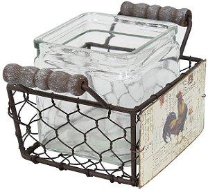 cesta em metal galo 1 pote de vidro oldway 11 x 20 x 13cm