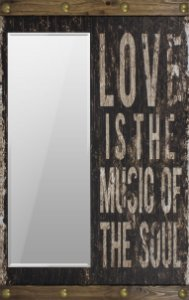 espelho love is music of the soul preto oldway 110 x 70 x6cm