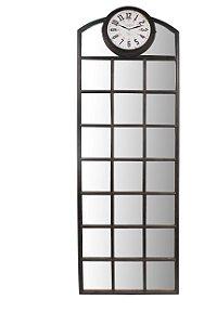 espelho quadrados com relógio oldway 192 x 63 x 3cm