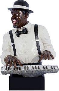 estátua homem pianista oldway 52 x 36 x 33cm