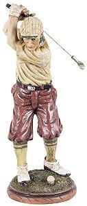 estátua golfista camisa bege oldway 31 x 15 x 12cm