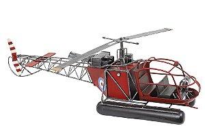 helicóptero vermelho em metal oldway 24 x 82 x 19cm