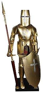 armadura  metal dourada lança escudo oldway 200 x 70 x 58cm