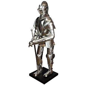 armadura em metal prata espada oldway 200x 70 x 58cm