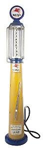 bomba de gasolina amarela e azul em metal oldway 193x24x24cm