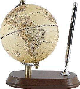 globo com porta caneta madeira marrom oldway 20 x 17 x 13cm