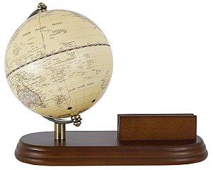 globo com porta cartoes madeira marrom oldway 20x22x14cm