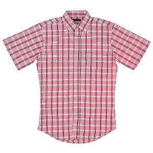 camisa xadrez wrinkle vermelha - wrangler 41x283p3
