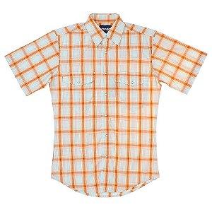 camisa xadrez wrinke laranjada - wrangler 41x283p1