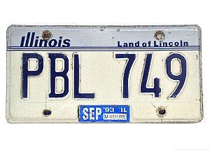 placa de carro decoração eua illinois pbl-749