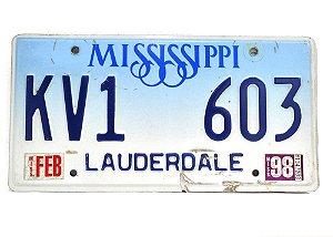 placa de carro decoração eua mississippi kv1-603