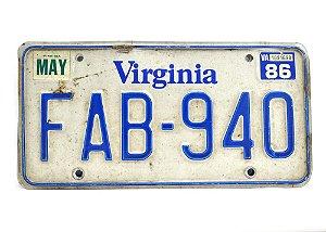 placa de carro decoração eua virginia fab-940