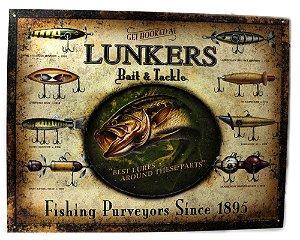 placa decoração get hooked at lunkers