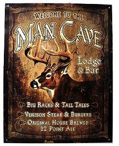 placa decoração welcome to the man cave