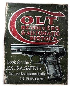 placa decoração colt revolvers & automatic pistols