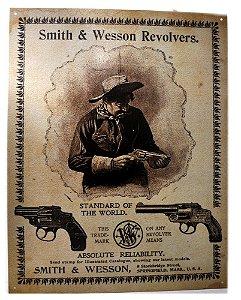 placa decoração smith & wesson revolvers.