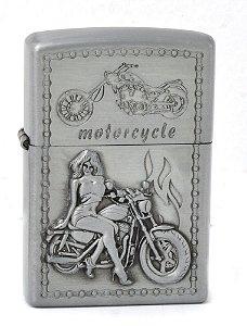 isqueiro prata motorcycle woman - noble elegant
