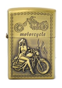 isqueiro cor bronze motorcycle woman / man - noble elegant