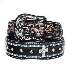 cinto de couro preto e azul strass azul arizona belts 7099ab