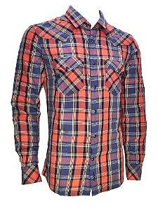 41s36i7c8 camisa masculina new western laranja e azul maiz wrangler f182156b211