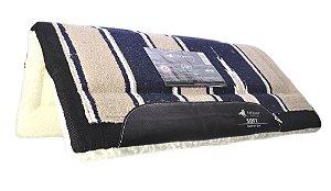 manta azul marinho com bege soft confort line full horse