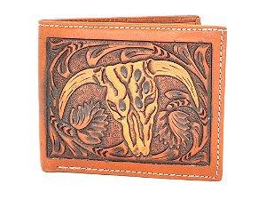 carteira de couro 3d florao e cabeça de boi - w-907