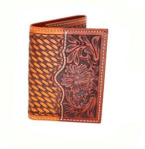 c1253t carteira de couro com florao ranger belt