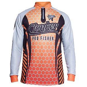 camiseta masculina dry fit colmeia laranja carnaval clonker