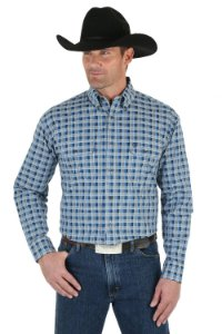 camisa wrangler george srait xadrez azul - 41mgsb303
