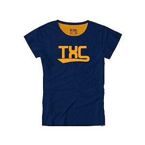 camiseta feminina txc baby look azul marinho - 4041