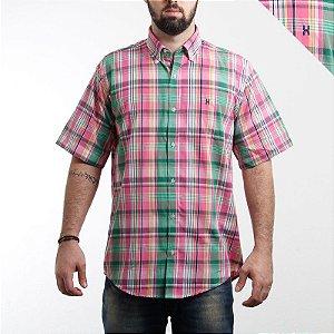 camisa txc manga curta masculina xadrez verde rosa - 2134c