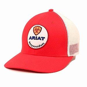 bone ariat importado branco/vermelho