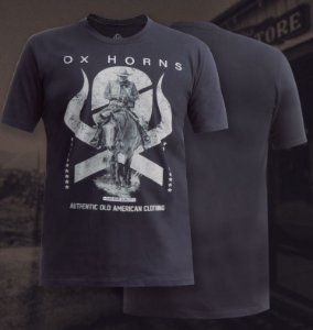 camiseta ox horns preta cowboy 1094