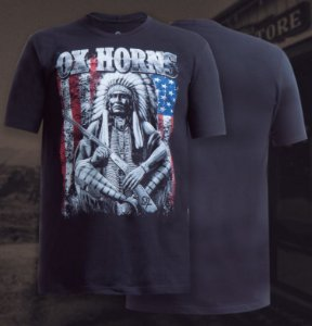 camiseta ox horns preta indio 1068