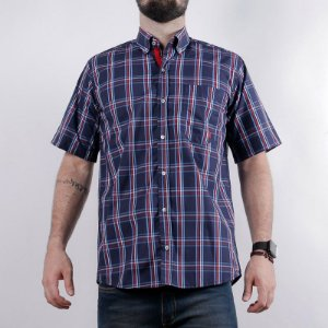 camisa manga curta xadrez azul 2268c - txc