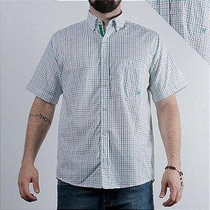 camisa manga curta xadrez branca e verde 2256c - txc