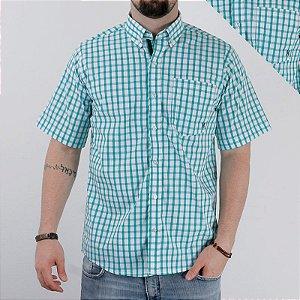 camisa manga curta xadrez verde 2232c - txc